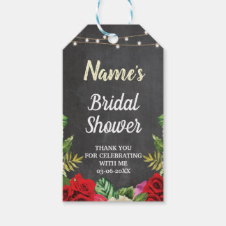 Thank you Tag Floral Red Roses Chalk Bridal Shower
