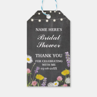 Thank you Tag Floral Wild Flowers Bridal Shower Pack Of Gift Tags