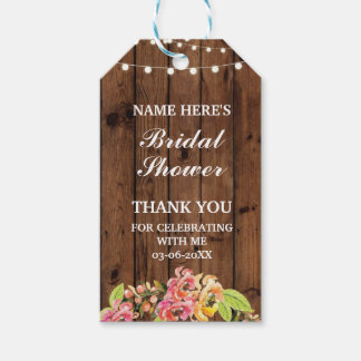 Thank you Tag Floral Wreath Flowers Bridal Shower Pack Of Gift Tags
