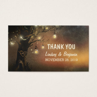 thank you tag with string lights mason jar tree business card