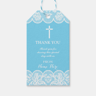 Thank you Tags Favour Blue Lace Cross Religious Pack Of Gift Tags