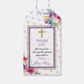 Thank you Tags Favour Floral Gold Cross Religious Pack Of Gift Tags
