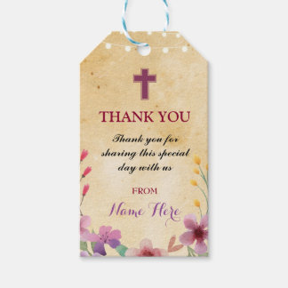 Thank you Tags Favour Floral Holy Cross Religious Pack Of Gift Tags