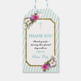 Thank you Tags Favour Floral Religious Mint