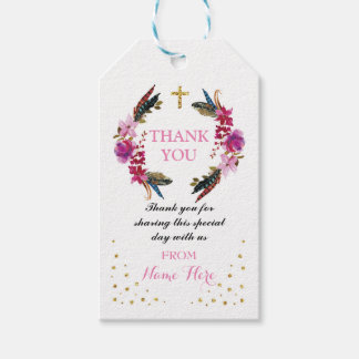 Thank you Tags Favour Floral Wreath Religious