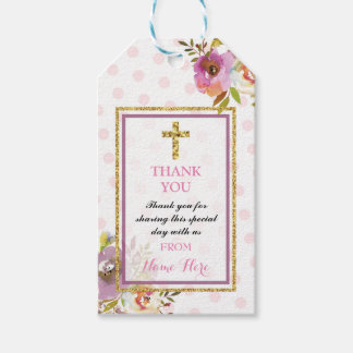 Thank you Tags Favour Floral Wreath Religious Pack Of Gift Tags