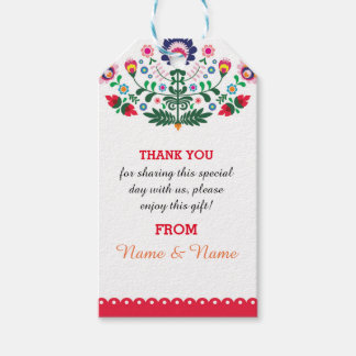 Thank you Tags Fiesta Mexican Print Red Wedding