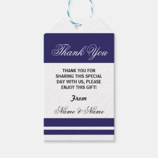 Thank you Tags Stripe Navy White Elegant Wedding