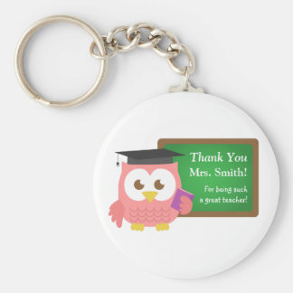 Thank you, Teacher Appreciation Day, Cute Pink Owl Basic Round Button Keychain