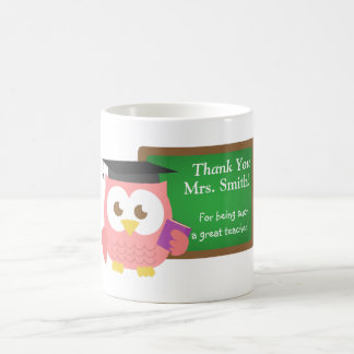 Thank you, Teacher Appreciation Day, Cute Pink Owl Coffee Mug