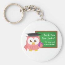 Thank you, Teacher Appreciation Day, Cute Pink Owl Keychain