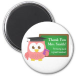 Thank you, Teacher Appreciation Day, Cute Pink Owl 2 Inch Round Magnet