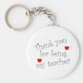 Thank you teacher basic round button keychain