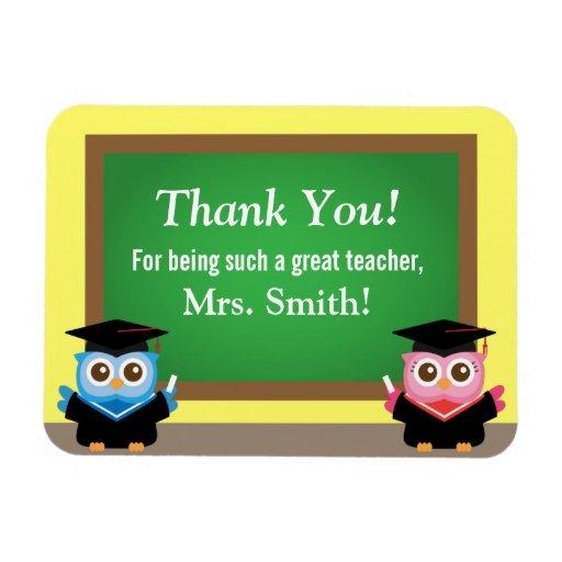 Thank you teacher, Cute Graduation Owls Magnet