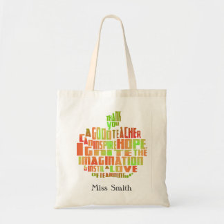 thank you teacher gift typography quote apple bag