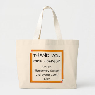 Thank  You Teacher Number 2 Pencil Frame Large Tote Bag