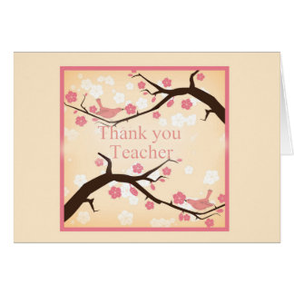 Thank You Teacher, Oriental Style Tree Blossoms Card