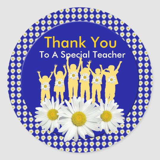 Thank You Teacher Stickers with Kids and Daisies