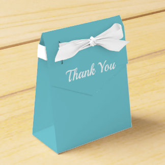Thank You Teal and White Favor Box