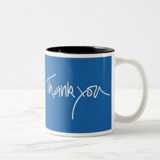 Thank you teal blue coffe mug