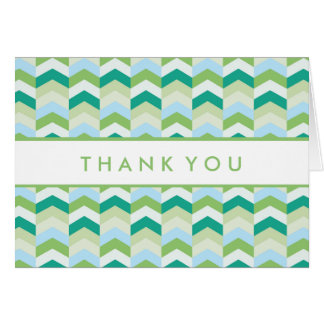 Thank You | Teal & Green Herringbone Pattern Card