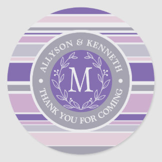 Thank You Thank You Monogram Laurel Wreath Lilac Classic Round Sticker