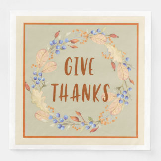 Thank you, Thanksgiving Wreath Napkins Paper Napkins