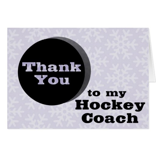 Thank You To My Hockey Coach Greeting Cards