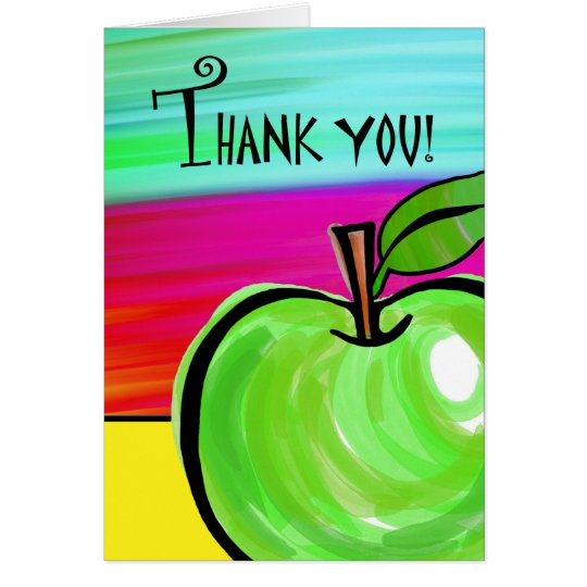 Thank You to Teacher, Green Apple Greeting Card