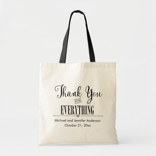 Thank You Tote, Black and White