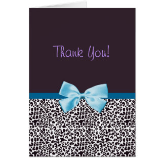 Thank You Trendy Leopard Print and Blue Ribbon Card