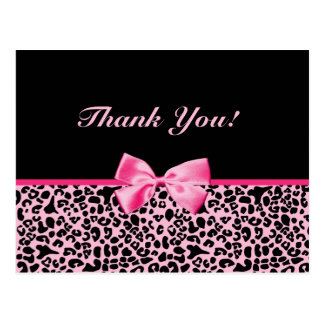 Thank You Trendy Pink And Black Leopard Ribbon Postcard