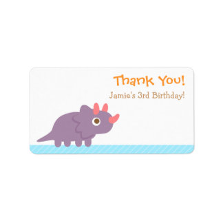 Thank You, Triceratops dinosaur theme party Custom Address Labels
