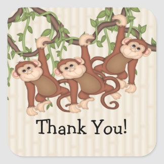 Thank You! Triplet Monkeys Baby Shower Square Sticker