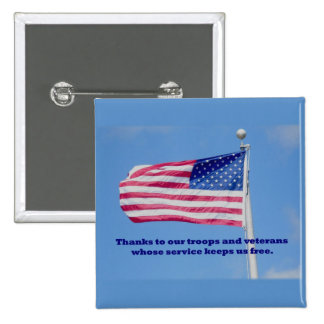 Thank You Troops American Flag 2 Inch Square Button