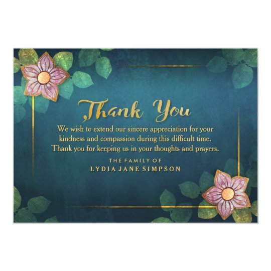Thank You Turquoise & Gold Floral Thank You Card