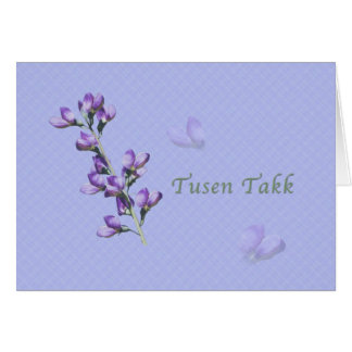 Thank You, Tusen Takk, Norwegian, Purple Sweet Pea Card