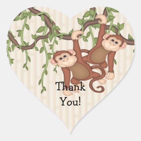 Thank You Twin Monkeys Baby Shower Heart Sticker