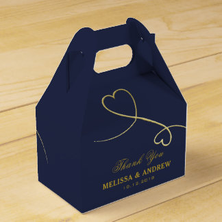 Thank You | Two Gold Hearts | Personalized Wedding Favor Box