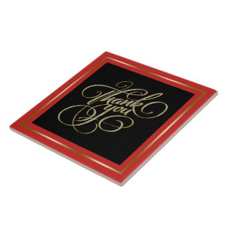 Thank You Typography Black & Red Frame Tile