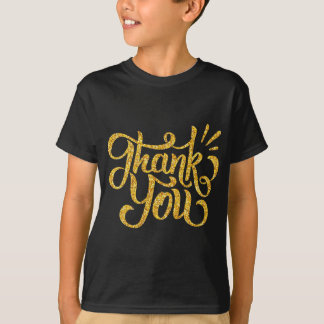 Thank you typography golden sparkling glitters T-Shirt