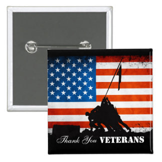 Thank You Veterans 2 Inch Square Button