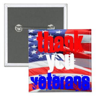 Thank You Veterans Love Respect Gratitude 2 Inch Square Button