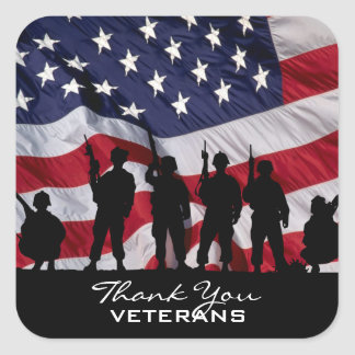 Thank You Veterans Square Sticker