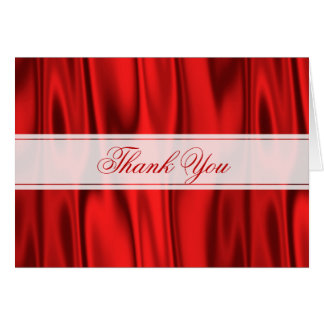 Thank You:  Vibrant Red Faux Satin Fabric Card