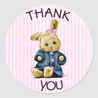 Thank you Vintage Bunny Rabbit Pink Stickers