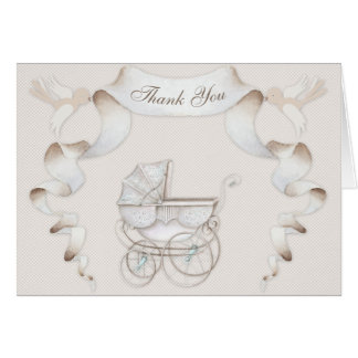 Thank You Vintage Carriage Ivory Beige Gingham Card