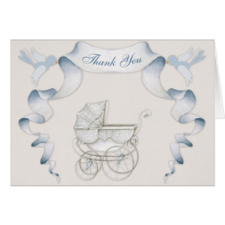 Thank You Vintage Carriage Ivory Blue Gingham Card