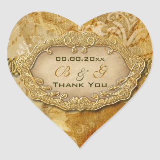 """Thank you"" vintage gold brown wedding Heart Sticker"