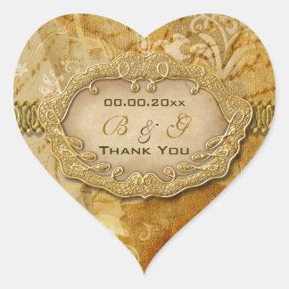 """Thank you"" vintage gold brown wedding Heart Sticker"